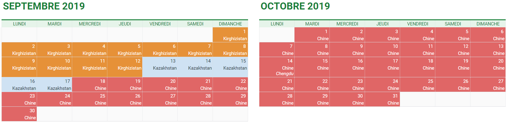 Planning septembre / octobre 2019